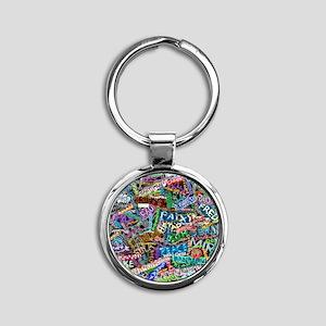 graffiti_peace_international Round Keychain