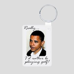 2-obama_playing_golf Aluminum Photo Keychain