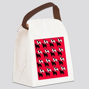 newf pattern red bkground2 Canvas Lunch Bag