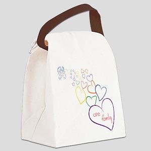 2Moms1FamilyHeartDesign Canvas Lunch Bag