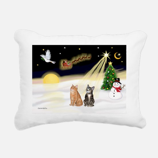 Night Flight - Two Tabby Rectangular Canvas Pillow