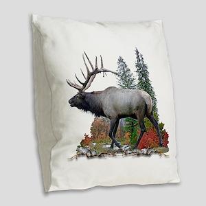 Bull elk Burlap Throw Pillow