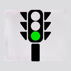 Green Light Stoplight Throw Blanket
