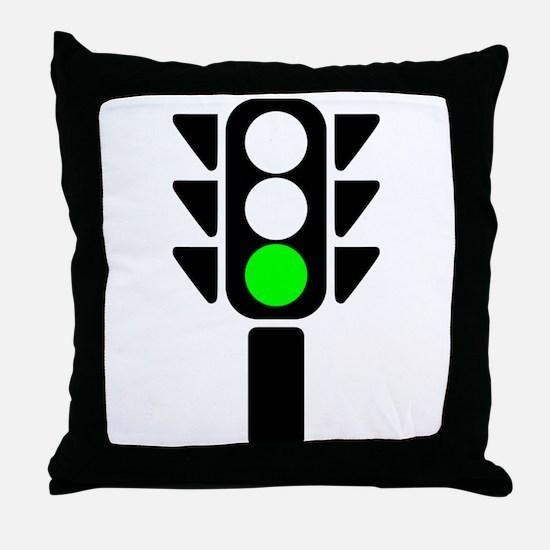 Green Light Stoplight Throw Pillow