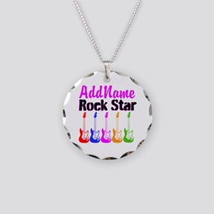 ROCK STAR Necklace Circle Charm