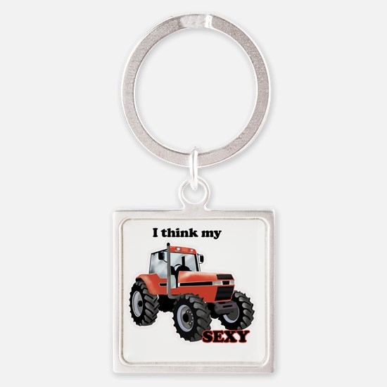 Sexy Tractor Square Keychain