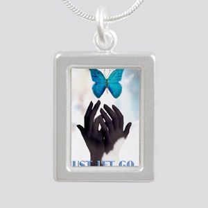 JUST LET GO Silver Portrait Necklace