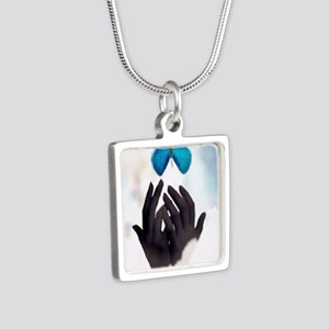 JUST LET GO Silver Square Necklace