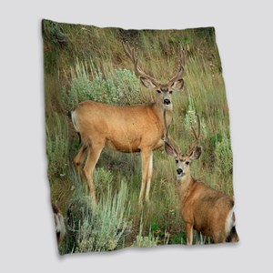 Mule deer velvet Burlap Throw Pillow