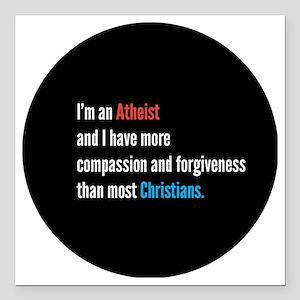 """Atheist Square Car Magnet 3"""" x 3"""""""
