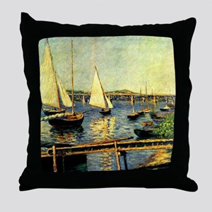 Caillebotte: Sailing Boats at Argente Throw Pillow