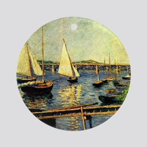 Caillebotte: Sailing Boats at Argen Round Ornament