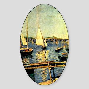 Caillebotte: Sailing Boats at Argen Sticker (Oval)