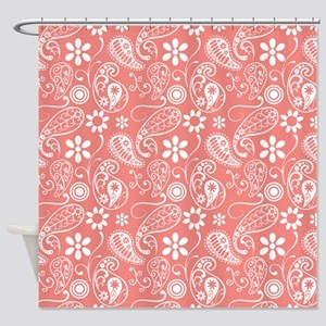 Coral Pink White Paisley Pattern Shower Curtain
