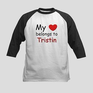 My heart belongs to tristin Kids Baseball Jersey