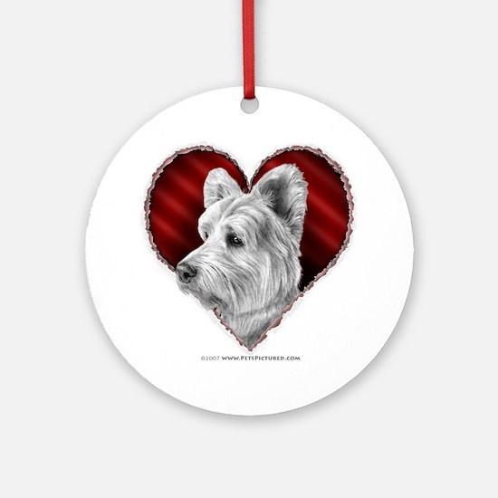 Westie Valentine Ornament (Round)