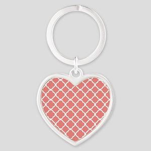 Coral Pink White Quatrefoil Keychains