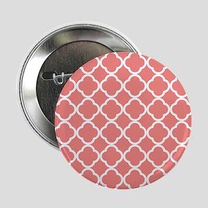 "Coral Pink White Quatrefoil 2.25"" Button (10 pack)"