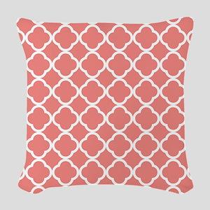 Coral Pink White Quatrefoil Woven Throw Pillow