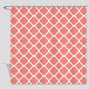 Coral Pink White Quatrefoil Shower Curtain