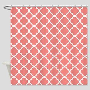 Coral Pink White Quatrefoil Shower Curtain