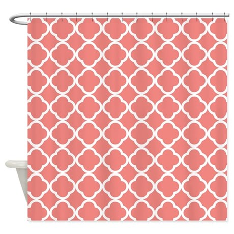 Coral Pink White Quatrefoil Shower Curtain by ClipArtMEGAmart