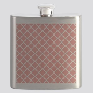 Coral Pink White Quatrefoil Flask