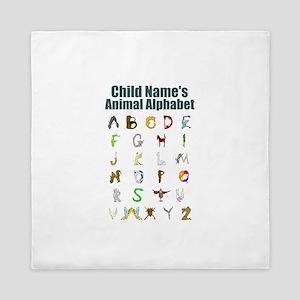 Personalized Animal Alphabet Queen Duvet