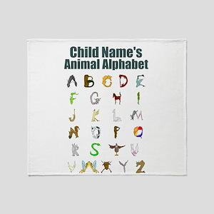 Personalized Animal Alphabet Throw Blanket