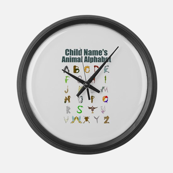 Personalized Animal Alphabet Large Wall Clock