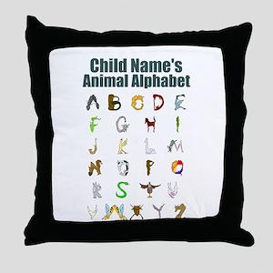Personalized Animal Alphabet Throw Pillow