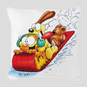 Sledding Fun! Woven Throw Pillow