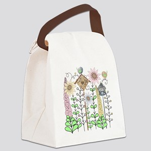 Cottage Garden Birds and Flowers Canvas Lunch Bag