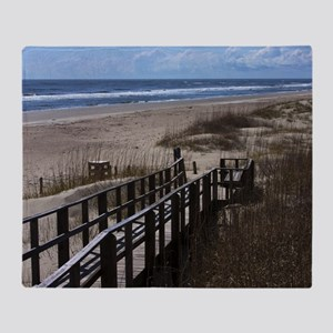 North Carolina Beach Walkway Throw Blanket