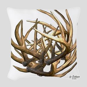 Whitetail Buck Deer Antler Art Woven Throw Pillow