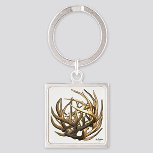 Whitetail Buck Deer Antler Art Clu Square Keychain