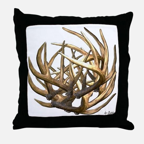 Whitetail Buck Deer Antler Art Cluste Throw Pillow