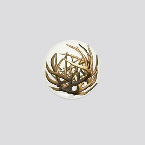 Whitetail Buck Deer Antler Art Cluster Mini Button