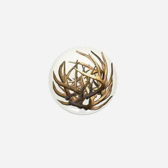 Whitetail Buck Deer Antler Art Cluster Mini Button
