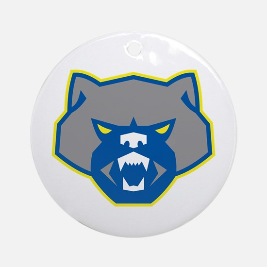 Angry Wolverine Head Front Retro Round Ornament