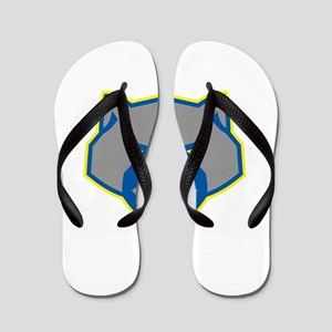 Angry Wolverine Head Front Retro Flip Flops