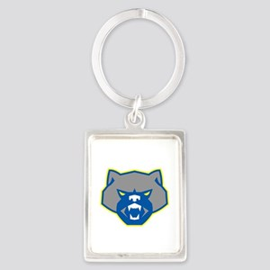 Angry Wolverine Head Front Retro Keychains