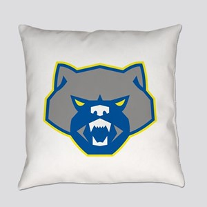 Angry Wolverine Head Front Retro Everyday Pillow