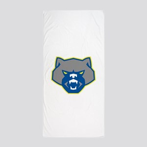 Angry Wolverine Head Front Retro Beach Towel