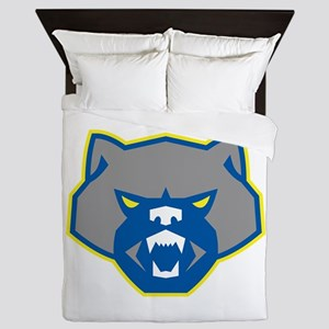 Angry Wolverine Head Front Retro Queen Duvet