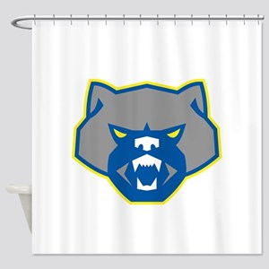 Angry Wolverine Head Front Retro Shower Curtain