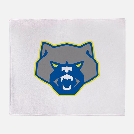 Angry Wolverine Head Front Retro Throw Blanket