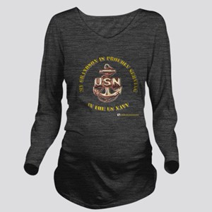 navy gold grandson Long Sleeve Maternity T-Shi