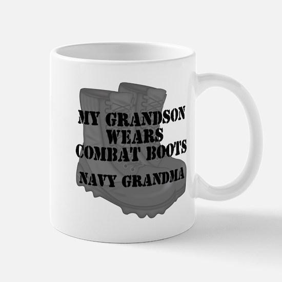 Navy Grandma Grandson Combat Boots Mugs