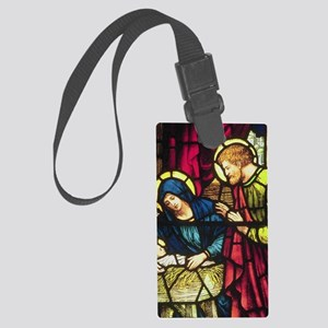 Stained Glass Nativity Large Luggage Tag